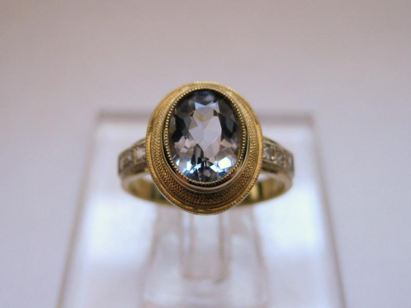1000 золото, бриллианты, аквамарин